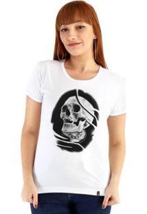 Baby Look Ouroboros Manga Curta Skull - Feminino-Branco