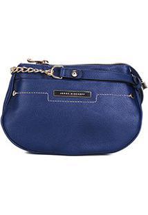 Bolsa Couro Jorge Bischoff Mini Bag 2 Divisões Feminina - Feminino-Marinho