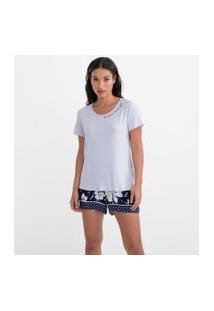 Pijama Manga Curta Liso Com Short Floral E Detalhes Em Gravataria | Lov | Azul | M