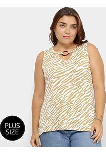 Regata Plus Size Lecimar Animal Print Zebra Feminina - Feminino-Bege