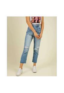 Calça Mom Jeans Destroyed Feminina Marisa