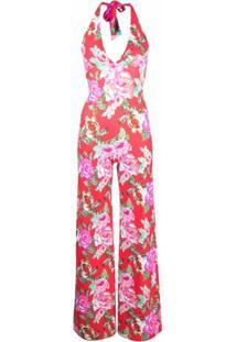 Fisico Floral-Print Halterneck Jumpsuit - Rosa