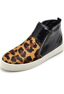 Bota Botinha Top Franca Shoes Hiate Word Preto Onça