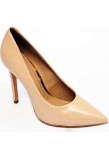 Sapato Scarpin Verniz Couro Christian Fischer Feminino - Feminino-Nude