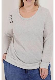 Blusa Moletinho Plus Size Feminina Bege