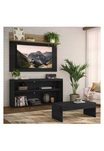 """Rack C/ Painel Tv 55"""" Com Mesa De Centro Atualle Plus Multimóveis Preto/Rustic"""