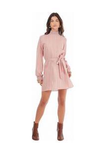 Vestido Curto Gola Alta Com Faixa Rosa P