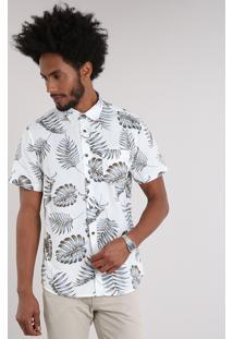 Camisa Masculina Estampada De Folhagem Com Bolso Manga Curta Off White