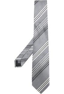 Cerruti 1881 Gravata De Seda Listrada Assimétrica - Grey