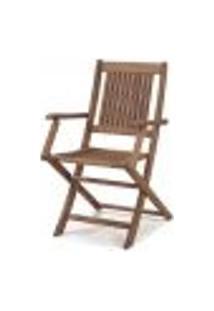 Cadeira Dobrável Com Braços Para Áreas Externas Em Madeira Eucalipto - Maior Durabilidade – Castanho.