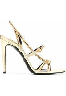 Gucci Sandália Metálica Com Aplicação De Cristais - Dourado