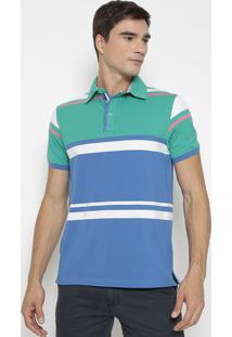 Polo Listrada Com Fendas- Verde & Azul- Pacific Bluepacific Blue