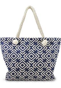 Bolsa De Praia Estampada Com Alça De Corda Jacki Design Azul Marinho Geométrica