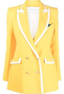 Hebe Studio Blazer Com Acabamento Contrastante - Amarelo