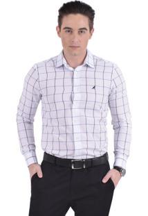 Camisa Xadrez Masculina Slim Social 100233 Branco