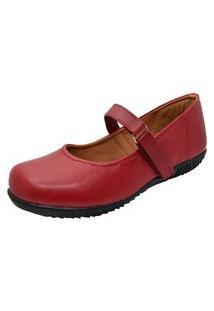 Sapato Sapatilha Boneca Fechado Confort Vermelho