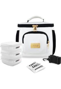 Bolsa Térmica Fitness Premium Couro Branco M