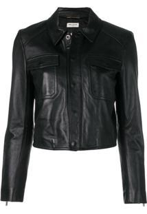 Saint Laurent Leather Biker Jacket - Preto