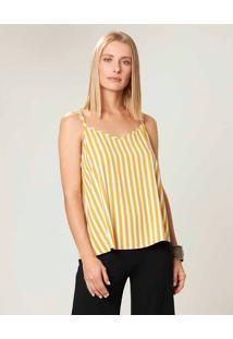 Blusa Estampada Com Alça Dupla Malwee Amarelo - Xgg
