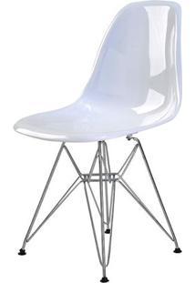 Cadeira Eames Eiffel Policarbonato Branco Solido Base Cromada - 44195 - Sun House