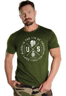 Camiseta Black Flag Us Depto. Militar Verde