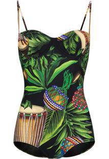 Dolce & Gabbana Maiô Com Estampa - Verde