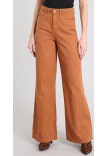 Calça Feminina Pantalona Em Sarja Cintura Alta Caramelo