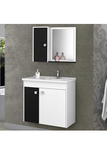 Armário De Banheiro Munique Branco/Preto - Bechara Móveis
