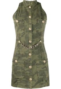 Balmain Sleeveless Camouflage Print Denim Dress - Verde