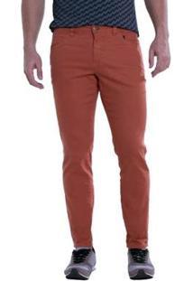 Calça Jeans Denuncia Skinny Telha Masculina - Masculino-Vermelho