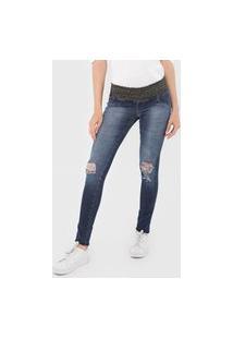 Calça Jeans Biotipo Jegging Lurex Destroyed Azul