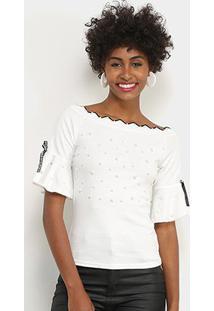 Blusa Lily Fashion Com Perolas Feminina - Feminino-Branco