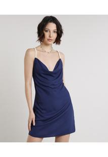 Vestido Feminino Curto Com Alça De Corda Gola Degagê Azul Marinho