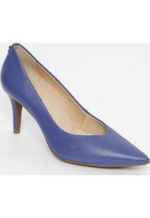 Scarpin Em Couro Com Tag- Azul- Salto: 8Cmjorge Bischoff