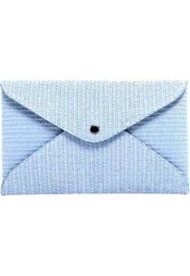 Carteira De Palha Média Birô Feminino - Feminino-Azul