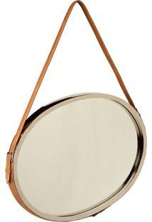 Espelho Tilliard Oval De Parede Com Alça De Couro