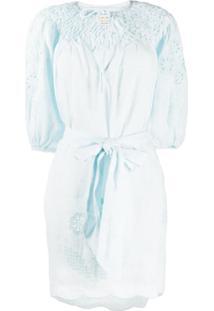 Innika Choo Vestido Com Bordado Floral - Azul