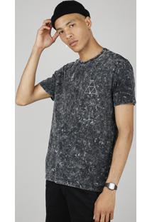Camiseta Masculina Marmorizada Manga Curta Gola Careca Preta