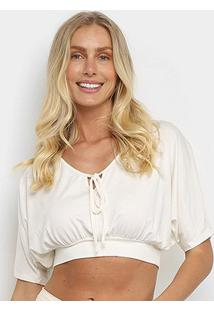 Blusa Top Cropped Mercatto Básica Feminina - Feminino-Off White