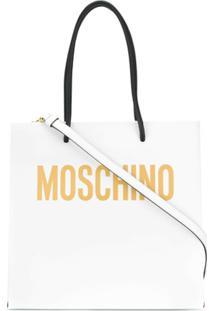 Moschino Bolsa Tote Com Estampa De Logo - Branco