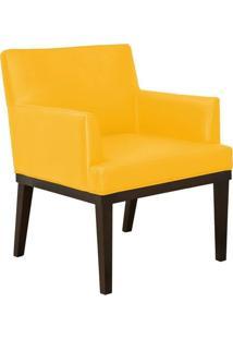 Poltrona Decorativa Vitória Para Sala E Recepção Corino Amarelo - D'Rossi