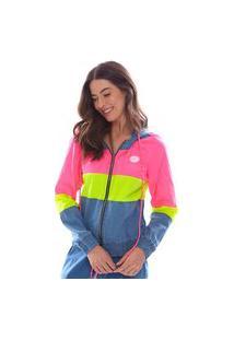 Jaqueta Vida Marinha Jeans/Neon Com Capuz