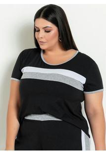 Blusa Preta Com Recortes Contrastantes Plus Size
