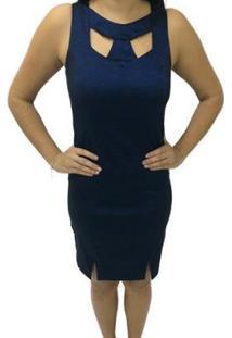 Vestido Liso Moché - Feminino-Marinho