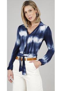 Camisa Feminina Estampada Tie Dye Com Nó Manga Longa Azul Marinho