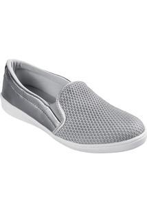 dd519b66ac4 Our Shoes. Calçado Tênis Feminino Couro Bordado Smash Lumina T12017-A Prata  Mello - Tela Detalhe Marina Onix