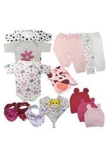Kit 14 Peças Maternidade Roupa De Bebê Menino Menina Enxoval Rosa