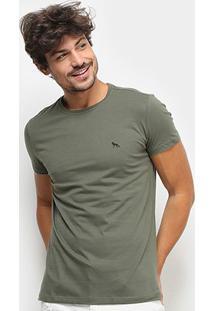 Camiseta Acostamento Lobo Costas Manga Curta Masculina - Masculino-Verde Militar