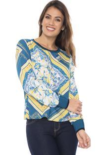 Blusa Enfim Estampada Amarela/Azul