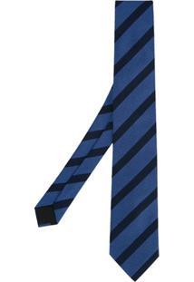 Cerruti 1881 Gravata De Seda Listrada - Azul